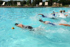 Pool race. Children racing in a swimming pool stock photography