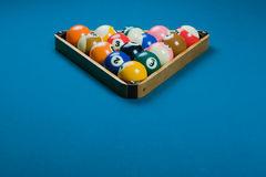 Pool rack. With 15 balls for 8-ball or straight pool in triangle royalty free stock photo