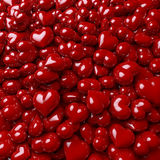 Pool of red, glossy hearts. 3d rendering, lacquered, enameled surface Stock Photos