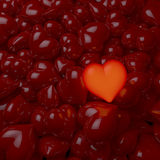 Pool of red, glossy hearts, one center heart glowing. 3d rendering, dim ambient light, lacquered, enameled surface Royalty Free Stock Photos