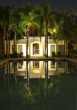 Pool Reflection. Illuminated pool with palm trees reflected on water at night stock images
