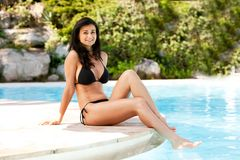 Pool Relax Woman Royalty Free Stock Photo