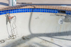 Pool repairs in progress Stock Photo