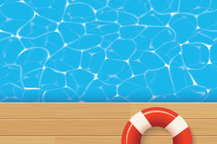 Pool ring and swimming pool. Summer background. Red pool ring and swimming pool. Summer background Royalty Free Stock Photo