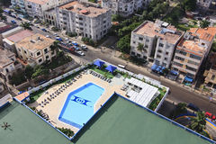 Pool on rooftop of hotel. Pool on rooftop of Tryp Habana Libre. Cuba Royalty Free Stock Photography