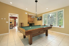 Pool room in suburban home Stock Photo