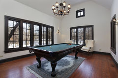 Pool room with wall of windows Royalty Free Stock Image