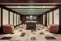 Pool room with wood beam ceilings Stock Photography