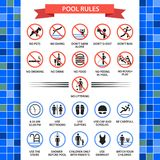 Pool rules poster. Swimming pool safety inspectors guide, rules of conduct and instructions. Vector flat style cartoon illustration isolated on white Royalty Free Stock Photo