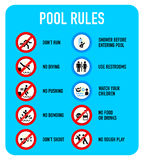 Pool rules signs. Set of typical pool warning and prohibited signs Royalty Free Stock Photography