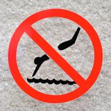 Pool safety sign - No Diving vector illustration