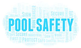 Pool Safety word cloud. Word cloud made with text only royalty free illustration