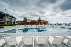 The pool at the Sagamore Pendry Hotel in Fells Point, Baltimore, Maryland.  royalty free stock photos