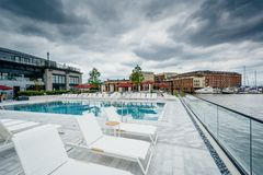 The pool at the Sagamore Pendry Hotel in Fells Point, Baltimore, Maryland.  stock images