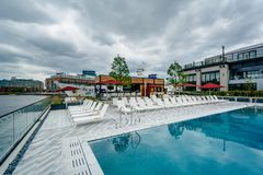 The pool at the Sagamore Pendry Hotel in Fells Point, Baltimore, Maryland.  royalty free stock photography