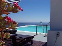 Pool in Santorini Stock Photos