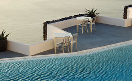 Pool and sea. Swimming pool over Aegean Sea Royalty Free Stock Images