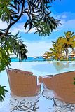 Pool , sea and chairs for rest.  royalty free illustration