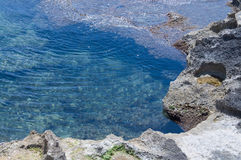 Pool of sea water and rocks. Pool of green ocean water by red and white limestone rocks Royalty Free Stock Photo