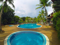 Pool on seacoast. Two pools at the resort thailand royalty free stock photos