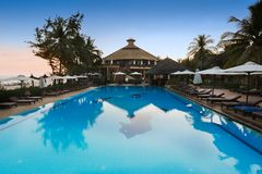 Pool of a seaside resort in Mui Ne, Vietnam Royalty Free Stock Photos