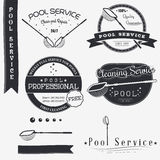 Pool Service. Clean and Repair. Set of Typographic Badges Design Elements, Designers Toolkit. Stock Photography