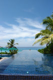 Pool in Seychelles. Pool giving on Indian ocean in Seychelles royalty free stock images