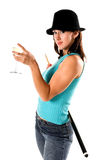 Pool Shark. Sexy young woman in jeans and a hat with a pool cue and a glass of wine Stock Image