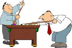 Pool sharks. This illustration depicts two men playing pool Royalty Free Stock Image