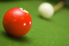 Pool Shot. Lining up a shot in game of pool royalty free stock images