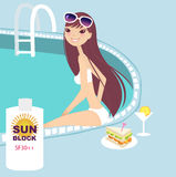 Pool side. A pretty girl on a pool vector illustration