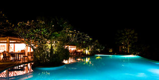 Pool side candle light dinner. Wide angle of view of the pool side restaurant Royalty Free Stock Images