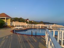 Pool side. With nice balcony area Stock Photo