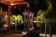 Pool side in the night. Pool side create miror on the water in the night Stock Photo