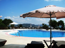 Pool side of resort hotel. In beautiful Okinawa Royalty Free Stock Images
