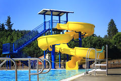 Pool Side Water Slide Royalty Free Stock Photography