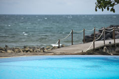 A pool in Siladen turquoise tropical paradise island resort Stock Photo