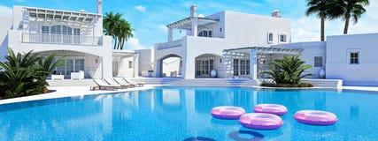 pool simningvillan sommar för snäckskal för sand för bakgrundsbegreppsram framförande 3d Arkivfoto