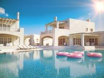 pool simningvillan sommar för snäckskal för sand för bakgrundsbegreppsram framförande 3d Royaltyfri Fotografi