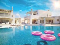 pool simningvillan sommar för snäckskal för sand för bakgrundsbegreppsram framförande 3d Royaltyfri Foto