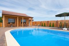 Pool and small building Royalty Free Stock Images