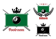 Pool, snooker and billiards emblems Royalty Free Stock Photo