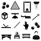 Pool snooker billiards icons set Royalty Free Stock Images