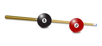 Pool (snooker) cue with a balls Royalty Free Stock Image