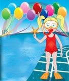 Pool Snorkel Girl Royalty Free Stock Images