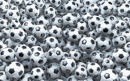 Pool of soccer christmas balls. Heap, cluster, pool of football, soccer ball christmas balls, baubles, 3d rendering Stock Photos