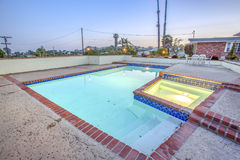 Pool and Spa in country backyard Stock Photography