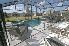 Pool, Spa and Lanai. A Swimming Pool, Spa and Lanai and Florida Stock Photo