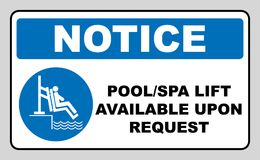 Pool and spa lift for disabled sign. Disability people information flat icons isolated on white background. Blue mandatory symbol. White simple pictogram royalty free illustration