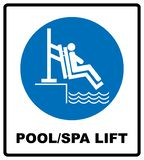 Pool and spa lift for disabled sign. Disability people information flat icons isolated on white background. Blue. Mandatory symbol. White simple pictogram vector illustration